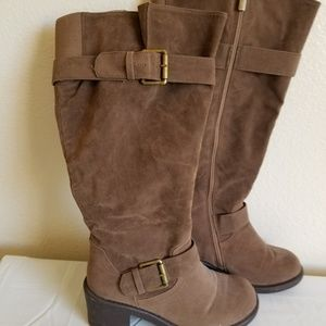 Wide calf brown tall boots